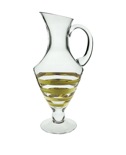 Classic Touch Water Pitcher with Gold-tone Artwork - Brick Design