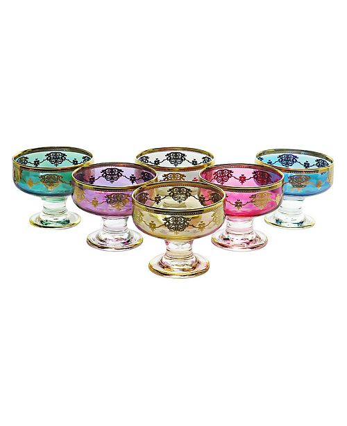 Classic Touch Set of 6 Dessert Cups with Gold-tone Design