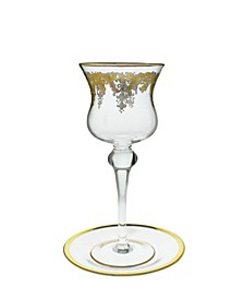 Glass Candle Holder Centerpiece with 24K Gold Artwork