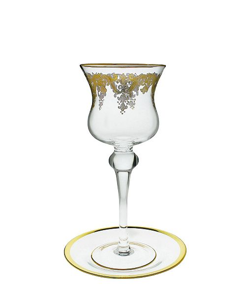 Classic Touch Over - Sized Goblet on Tray with 24k Gold Artwork - Kos Shel Eliahu