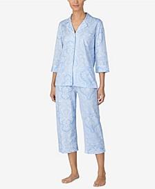 로렌 랄프로렌 파자마 세트 Lauren Ralph Lauren 3/4 Sleeve Classic Notch Collar Capri Pajama Set,Blue