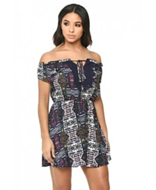AX Paris Women's Printed Dress with Lace Detail
