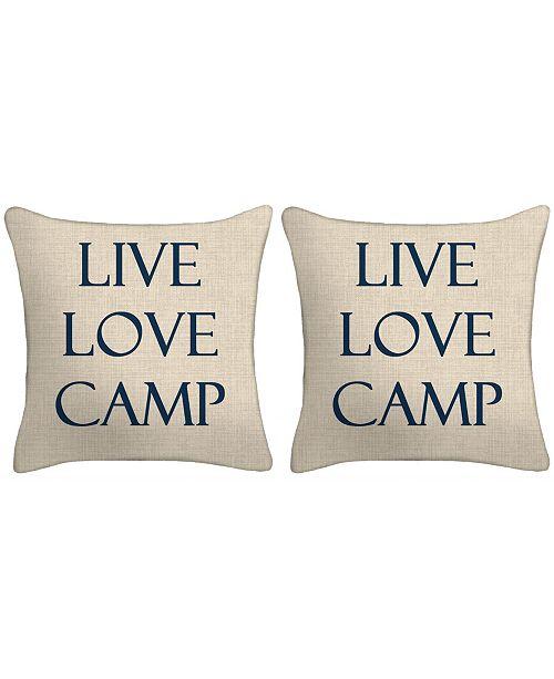 Jordan Manufacturing Set of 2- Live Love Camp Toss Pillows