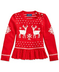 Little Girls Intarsia-Knit Peplum Sweater