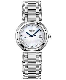 Longines Women's Swiss PrimaLuna Diamond-Accent Stainless Steel Bracelet Watch 30mm