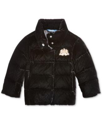 Toddler Girls Quilted Velvet Down Jacket