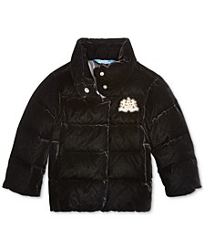 Little Girls Quilted Velvet Down Jacket
