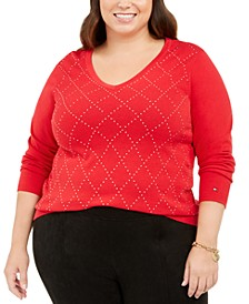 Plus Size Cotton V-Neck Sweater, Created For Macy's