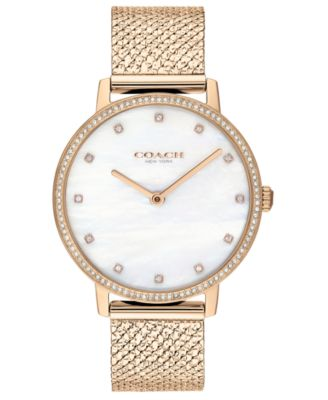 코치 여성 손목 시계 COACH Womens Audrey Carnation Gold-Tone Stainless Steel Mesh Bracelet Watch 35mm