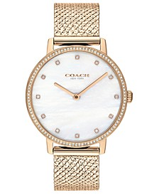 Women's Audrey Carnation Gold-Tone Stainless Steel Mesh Bracelet Watch 35mm