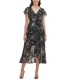 Foil-Print Chiffon High-Low Maxi Dress