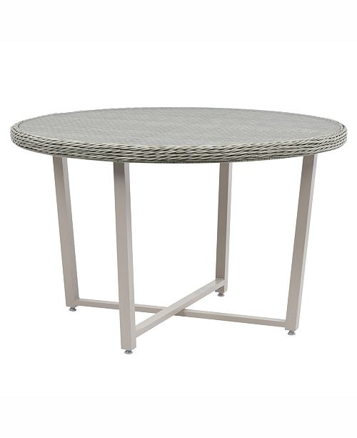 Corliving Distribution Parkview Wide Rattan Wicker Patio Dining Table with Glass Inset Table Top