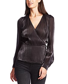 Textured Shimmering Wrap Top