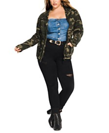City Chic Trendy Plus Size Cotton Camo-Print Drawstring-Waist Jacket