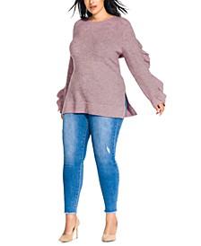 Trendy Plus Size Ruffled-Sleeve Sweater