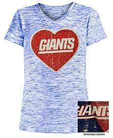 Big Girls New York Giants Heart Flip Sequin T-Shirt