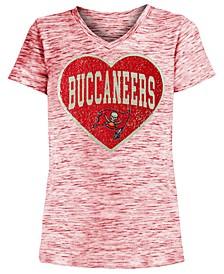 Big Girls Tampa Bay Buccaneers Heart Flip Sequin T-Shirt