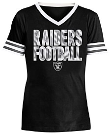 Big Girls Oakland Raiders Sequin Stripe T-Shirt