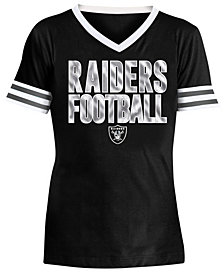 5th & Ocean Big Girls Oakland Raiders Sequin Stripe T-Shirt
