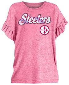 Big Girls Pittsburgh Steelers Ruffle Foil T-Shirt