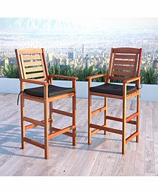 Distribution Miramar Hardwood Outdoor Bar Height Chairs, Set of 2