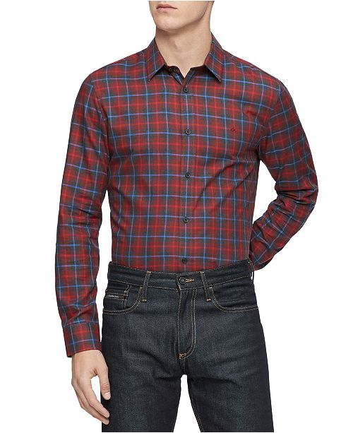 Calvin Klein Men's Classic-Fit Plaid Shirt