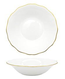 Amelie Brushed Gold Rim Soup/Pasta Bowl