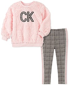 Little Girls 2-Pc. Faux-Fur Sweatshirt & Printed Leggings Set