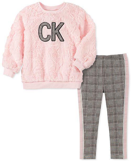 Calvin Klein Toddler Girls 2-Pc. Faux-Fur Sweatshirt & Printed Leggings Set