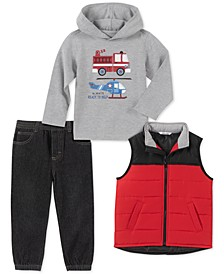 Toddler Boys 3-Pc. Red Nylon Vest, Gray Firetruck/Helicopter Jersey Hoodie & Black Denim Joggers Set