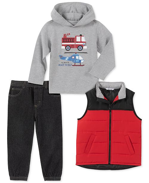 Kids Headquarters Toddler Boys 3-Pc. Red Nylon Vest, Gray Firetruck/Helicopter Jersey Hoodie & Black Denim Joggers Set