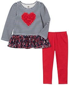 Little Girls 2-Pc. Rosette Heart Top & Leggings Set