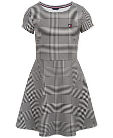 Little Girls Houndstooth-Print Fit & Flare Dress