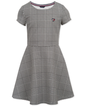 Kids 1950s Clothing & Costumes: Girls, Boys, Toddlers Tommy Hilfiger Little Girls Houndstooth-Print Fit  Flare Dress $26.70 AT vintagedancer.com