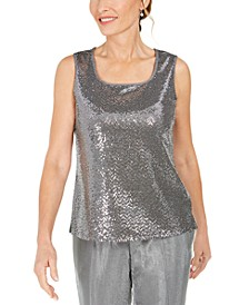 Petite Square-Neck Metallic Top