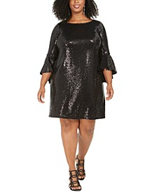Plus Size Sequinned Bell-Sleeve Dress