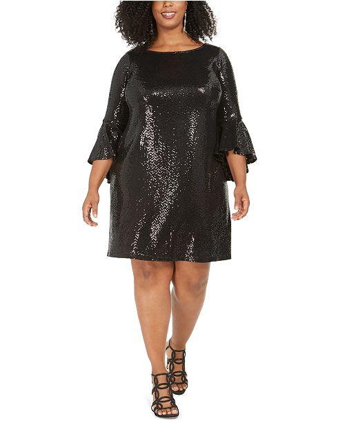 MSK Plus Size Sequinned Bell-Sleeve Dress