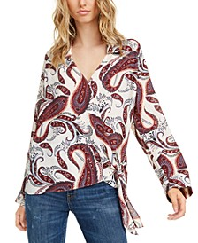 Paisley Printed Wrap Top