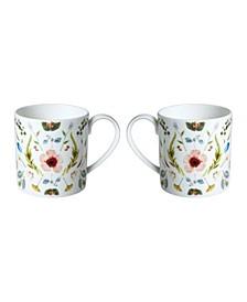 Scandinavian Floral Mugs - Set of 2