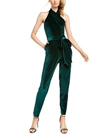 Harland Open-Back Velvet Jumpsuit