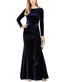 Draped & Ruched Velvet Gown