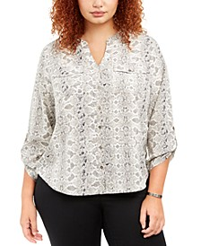 Plus Size Printed Y-Neck Utility Shirt