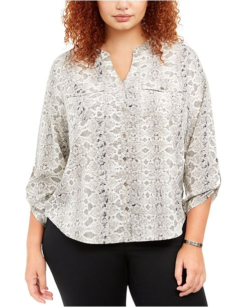 NY Collection Plus Size Printed Y-Neck Utility Shirt