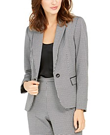 Houndstooth One-Button Blazer