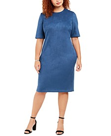 Plus Size Faux-Suede Sheath Dress