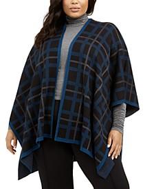Plus Size Plaid Knit Cape