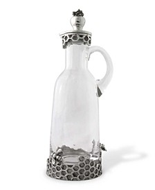 Pewter Bee Glass Syrup, Honey Pitcher