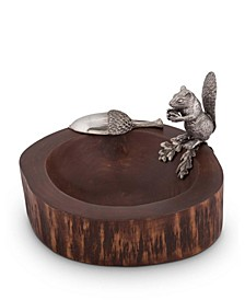 Wood Nut, Candy Bowl with Standing Pewter Squirrel and Metal Pewter Scoop