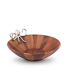 Acacia Wood Salad, Fruit Serving Bowl Large with Pewter Octopus