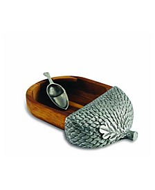 Wood Acorn Nut Bowl Wide, Spoon Included